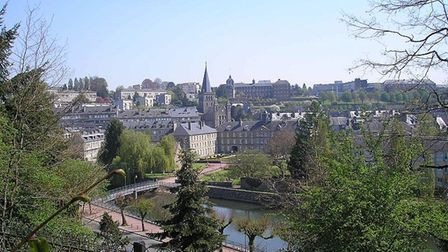 A view of the town of Vire in Normandy, overlooking the river towards the Saint Anne Church
