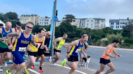 Dave Tomlin & Brian Sansom at the start of the Exmouth 10km