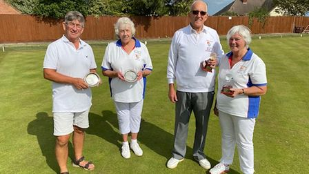 Mixed Pairs - Andy Cardy, Anne Clarke & Winners Brian Goddard & Gwen Hurst