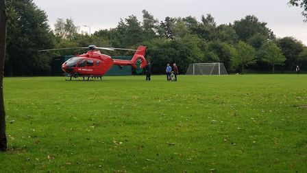 The air ambulance has been called to an incident near Bury St Edmunds