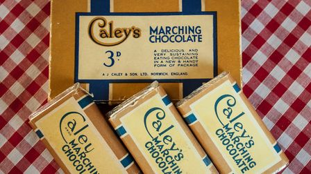 Marching chocolate given to a boy by a soldier at the 1937 Coronation. Caley's café in Norwich.