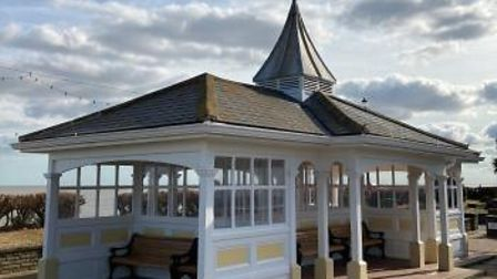 Manwick Shelter on the South Seafront Felixstowe has been repaired after an arson attack in 2020