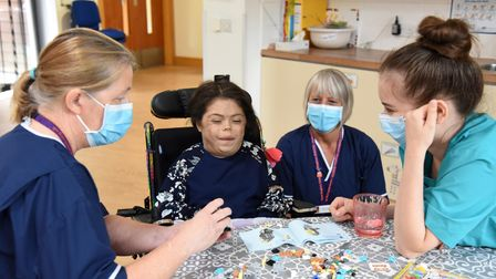 Erin Sadler having fun with the nurses at EACH PICTURE: CHARLOTTE BOND