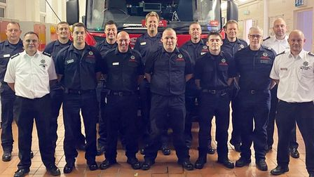 Matt Scruby with colleagues at Cottenham Fire Station