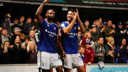 Janoi Donacien and Macauley Bonne after the final whistle.