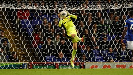 Ipswich keeper Vaclav Hladky makes a save.