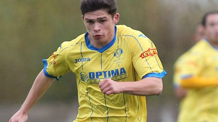Jack Friend of King's Lynn Town FC in action against Nantwich Town FC during the FA Trophy match at