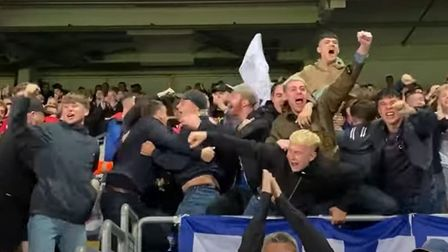 Ipswich Town fans celebrate during their 6-0 win over Doncaster Rovers last night
