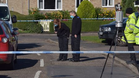 Police and forensic teams on the scene of an incident in Mulberry Close, Feltwell Byline: Sonya Dunc