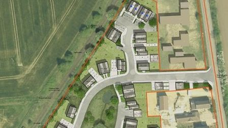 Plans for a 43-home estate on Elm Road in March, Cambridgeshire