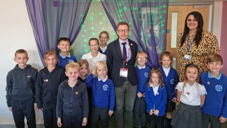 North Norfolk MP Duncan Baker with pupils from Astley Primary, in Melton Constable,and headteacher Jen Goakes