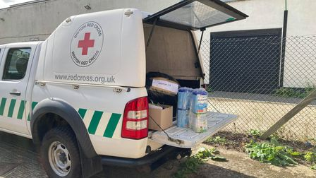 A British Red Cross Ranger loaded with donations for families arriving from Afghanistan