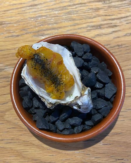 The fried Maldon oyster and mango pickle at The View restaurant in Fornham All Saints
