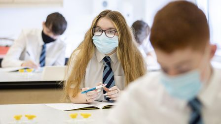 Students wearing face masks in a lesson.