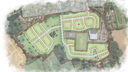 A plan of the Helena Romanes School, Dunmow site featuring 200 homes