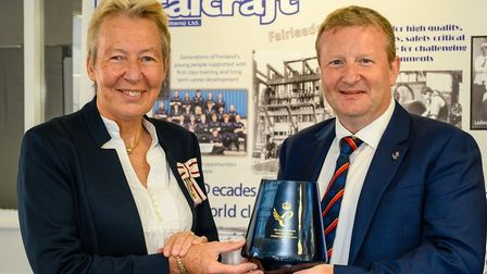 Lord Lieutenant of Cambridgeshire Julie Spence with Ian Bannister of Metalcraft Chatteris