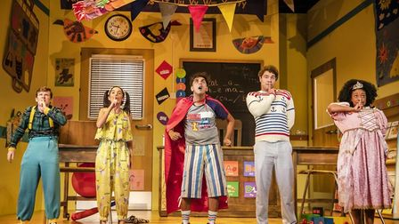 The cast of Groan Ups, which is coming to Cambridge Arts Theatre.