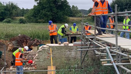 volunteers at the River Gipping Trust rebuilding the John Rennie abutments on the bridge
