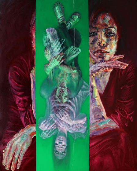 Sara Shamma's modern slavery exhibition at Ely Cathedral's Lady Chapel: The Fall,2019, oil on canvas.