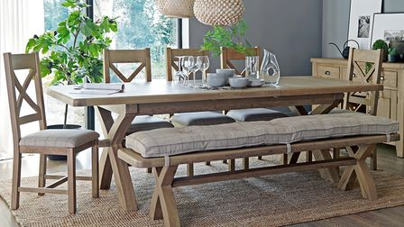 Heritage dining collection from Aldiss with bench and cross-back chairs