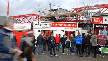 Fans arrive for the FA Cup fourth round match at the Wham Stadium, Accrington.