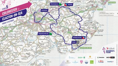 Route map for Stage 5 of the Women's Tour
