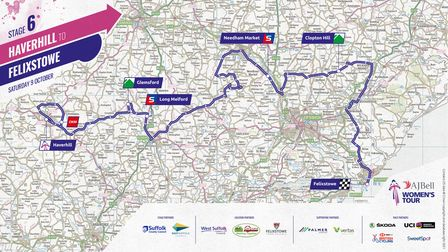 Route map for Stage 6 of the Women's Tour
