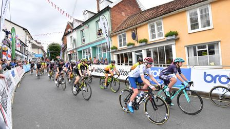 Riders during Stage 1 of the Women's Tour in 2018 as they roll out of Framlingham