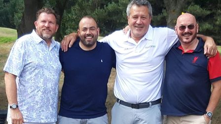 Rugby legend Zinzan Brooke, second from right, at the fundraising golf day at Seckford Golf Club