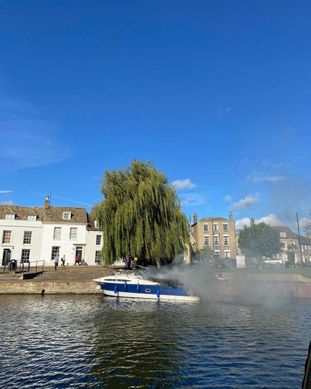 Boat fire at Ely