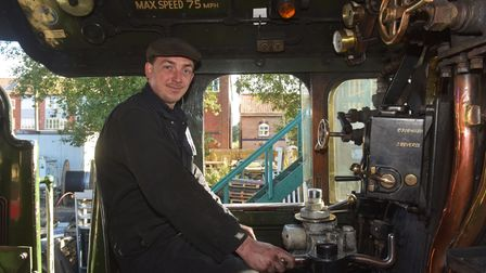 Mid Norfolk Railway driver James Francis-Beck in the Flying Scotsman cab