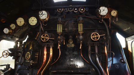 Inside the cab of Flying Scotsman, which is visiting the Mid Norfolk Railway