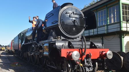 Flying Scotsman pictured following its arrival at Dereham station