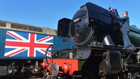 Flying Scotsman being prepared for service at Dereham station