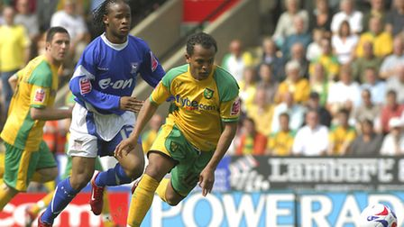 Robert Earnshaw in action for Norwich City in a 1-1 draw with Ipswich Town in the Championship at Ca