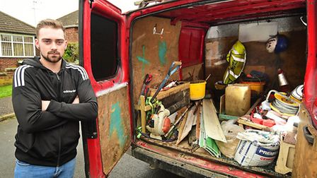 Jordan Huggins, a self employed roofer, has had his tools stolen from his van.Picture: ANTONY KELLY