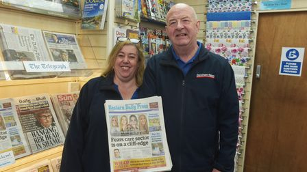 Dereham News is celebrating 40 years in business. Pictured are owners Mark and Carol Stubbs