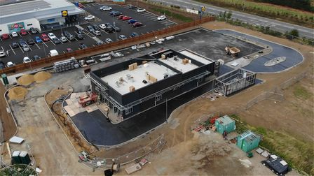 An aerial view of the new Broadland Gate McDonald's restaurant under construction