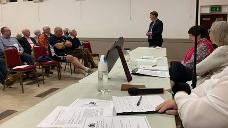 Rob Speck,addressing people at theFakenham Community Centre for the annual assembly.