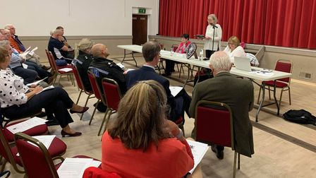Mayor of Fakenham, Gilly Footrse addressing people at theFakenham Community Centre for the annual assembly.
