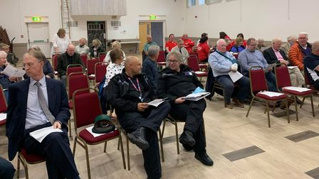 People gathered at Fakenham Community Centre for the annual assembly.