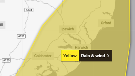 Warnings for strong winds andheavy rainare in place across the Suffolk coast today.