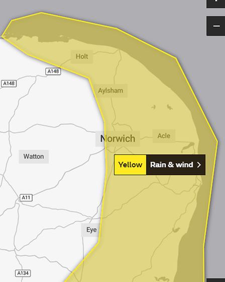 A Met Office yellow weather warning for strong winds and heavy rain is in place from 1pm until 10pm on Saturday, October 2