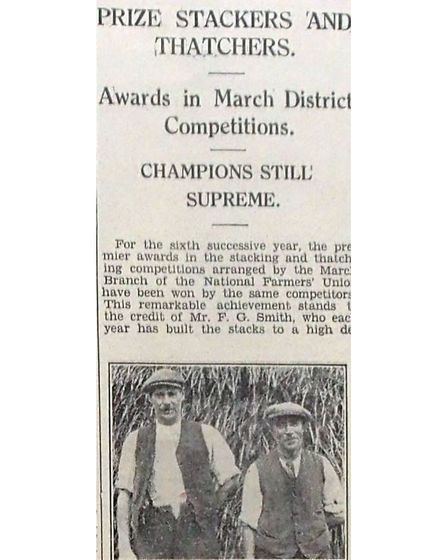 Prize stackers and thatchers – Ely Standard September 29th 1933