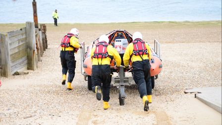 Wells inshore lifeboat rescued two people cut off by the tide on Holkham Beach. Picture: Wells RNLI