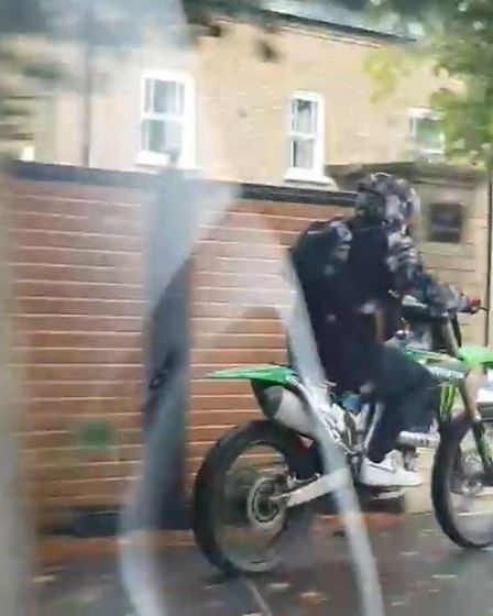 Footage shows the rider driving into March along the B1101 Wimblington Road