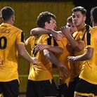 Josh Burrows celebrates a goal for March Town FC