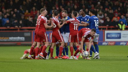 James Norwood loses his cool during the second half at Accrington Stanley.