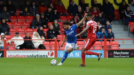Macauley Bonne goes to shoot during the first half but the effort is charged down at Accrington Stan