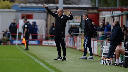 Paul Cook directs his players at Accrington Stanley.